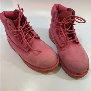 "Timberlands 6"" Waterproof Pink Leather Boots"